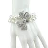 Kenneth Jay Lane Crystal Bow Pearl Bracelet