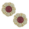 Ciner Grace Pave Ruby Flower Earrings
