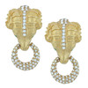 Ciner Gold Emerald Pave Ram Head Earrings