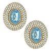 Ciner Elizabeth Aqua Oval Crystal Earrings