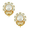 Bounkit Pearl Aquamarine Citrine Flower Earrings