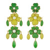 Vintage Gripoix Green Yellow Glass Earrings