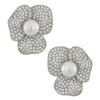 Kenneth Jay Lane Silver Pearl Flower Earrings