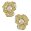 Kenneth Jay Lane Large Pearl Flower Earrings