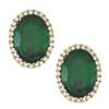 Kenneth Jay Lane Emerald Oval Earrings