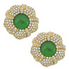 Ciner Grace Pave Emerald Flower Earrings