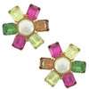Ciner Multicolored Pearl Centre Flower Earrings