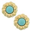 Ciner Gold Turquoise Centre Flower Earrings
