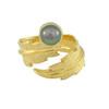LeiVanKash Gold Feather Grey Pearl Midi Ring