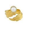 LeiVanKash Gold Feather White Pearl Midi Ring