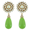 Ciner for Sophie Kelly Green Crystal Flower Drop Earrings