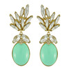 Ciner for Sophie Mint Crystal Leaf Drop Earrings