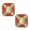 Vintage Ciner Red Crystal Square Earrings