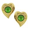 Vintage Yves Saint Laurent Emerald Heart Button Earrings