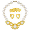 Vintage Napier Satin Gold Pearl Necklace Set