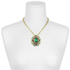 Ciner Emerald Mogal Brooch Necklace