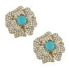 Ciner Lana Turquoise Crystal Flower Earrings
