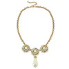 Ciner for Sophie Mini Pearl Crystal Flower Necklace