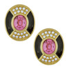 Vintage Christian Dior Monochrome Pink Deco Earrings