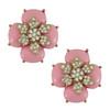 Ciner Baby Pink Cabochon Flower Earrings