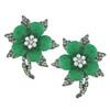 Siman Tu Ornate Emerald Flower Earrings