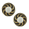 Vintage Vogue Bijoux Monochrome Enamel Button Earrings