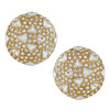 Ciner Gold Crystal Round Button Earrings