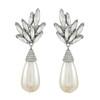 Ciner Silver Crystal Leaf Pearl Drop Earrings