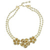 Miriam Haskell Three Flower Ornate Pearl Necklace