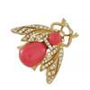Ciner Coral Gold Bee Brooch