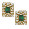 Ciner Emerald Ornate Rectangle Earrings
