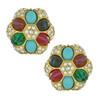 Ben-Amun Regal Crystal Button Earrings