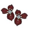 Mei's Jewelry Three Petal Ruby Flower Earrings
