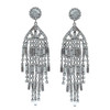 Kenneth Jay Lane Gunmetal Crystal Waterfall Earrings