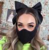 Florencia Tellado Pink Silk and Tweed Bow Face Mask