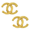 Vintage Chanel CC Gold Logo Textured Earrings