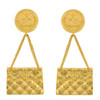 Vintage Chanel Gold Quilted Bag Earrings