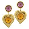Vintage Yves Saint Laurent Glass Heart Earrings
