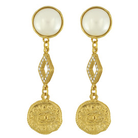 Vintage Chanel Pearl Crystal Gold Drop Earrings
