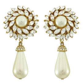Ciner Crystal Flower Pearl Drop Earrings