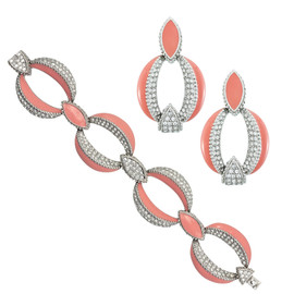 Ciner Light Coral Pave Link Bracelet and Earrings Set