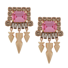 Mawi Pink Gemstone Crystal Long Spike Earrings