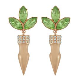 Mawi Lime Crystal Leaf Spike Drop Earrings