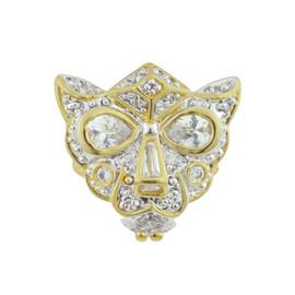 Kenneth Jay Lane CZ Crystal Panther Mask Ring