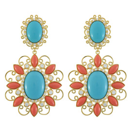 Kenneth Jay Lane CZ Moroccan Scroll Earrings