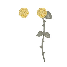 Smith/Grey Marina Gold Black Rose Earrings