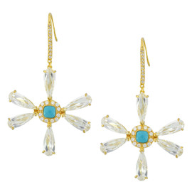Kenneth Jay Lane CZ Dragonfly Flower Earrings