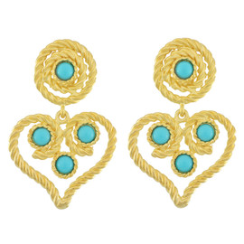 Kenneth Jay Lane Turquoise Rope Heart Drops