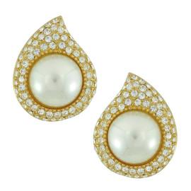 Vintage Christian Dior Crystal Tear Pearl Earrings