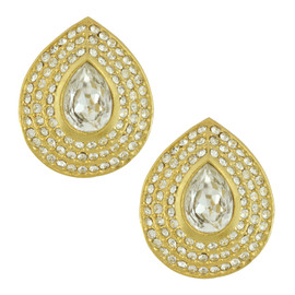 Vintage Pear Shapped Gold Crystal Earrings